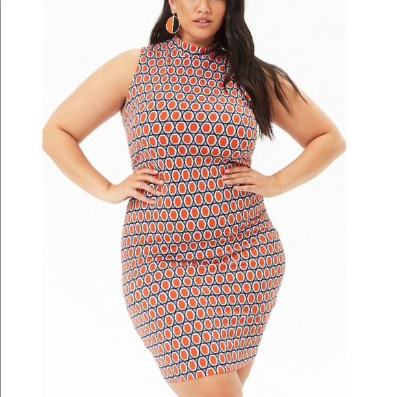 Plus Size Geo Print Bodycon Dress